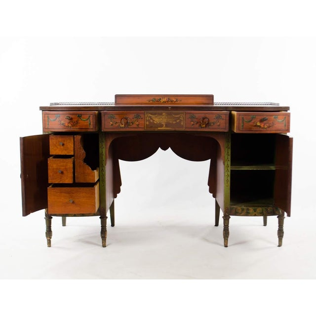 French Mid 19th Century Vintage French Provincial Hand Painted Writing Desk For Sale - Image 3 of 13