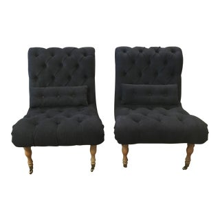 Navy Tufted Slipper Chairs - a Pair