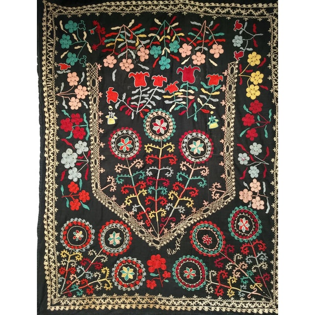 "Late 1800s Hand-Stitched Suzani- 3' X 5' 3"" For Sale - Image 12 of 13"