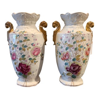 Pair of Signed Antique English Ceramic Urns With Floral Decoration For Sale