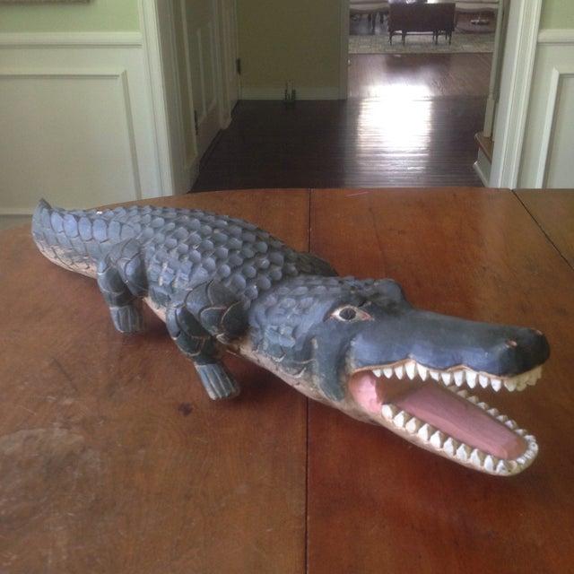 Vintage Carved Wood Folk Art Alligator - Image 3 of 11
