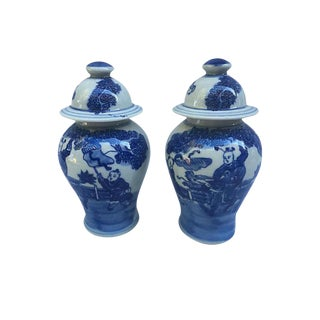 Blue & White Chinese Ginger Jars - a Pair