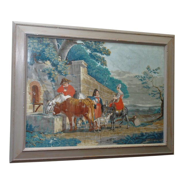 """Large Early 19th c. Gouache Painting, """"By the Water Trough"""" - Image 1 of 8"""