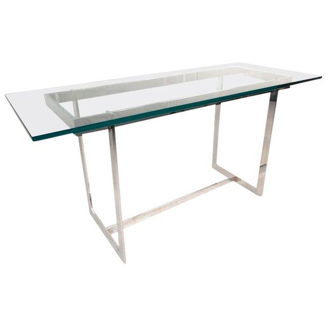 Milo Baughman Style Mid Century Glass Chrome Console Table Chairish