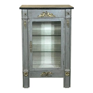 French Empire Painted Marble Top Vitrine, Ca. 1870 For Sale