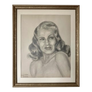 Original Mid Century Drawing Portrait of a Woman by Joseph P. Porter 1949 For Sale