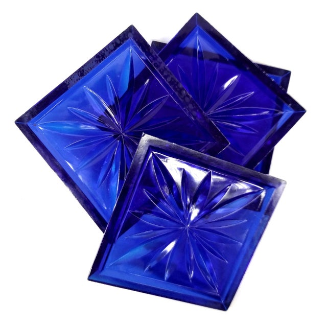 Mid Century Cobalt Blue Cut Lucite Coasters - 4 For Sale - Image 7 of 8