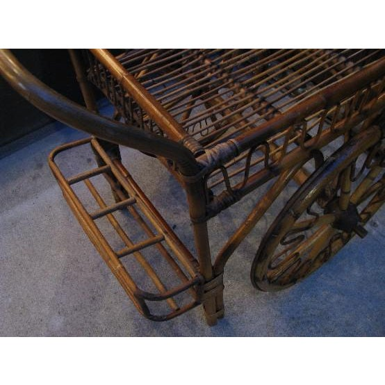 French Riviera Rattan Bar Cart From the 1950s For Sale - Image 4 of 8