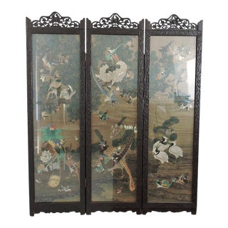 """Antique Chinese Three Panel Folding Oriental """"Exotic Birds"""" Room Divider For Sale"""