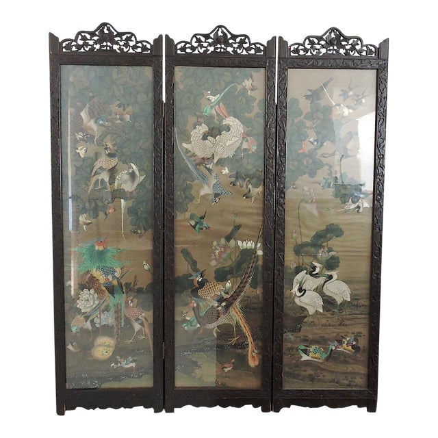 Antique Chinese Three Panel Folding Oriental Water Colour Screen / Room Divider For Sale