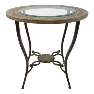 Sherrill Co. Transitional Italian Style Glass and Metal Side Table For Sale