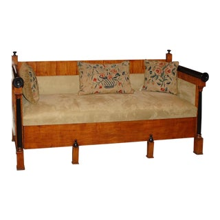 1840 Biedermeier Birch and Orange Fabric Upholstered Sofa For Sale