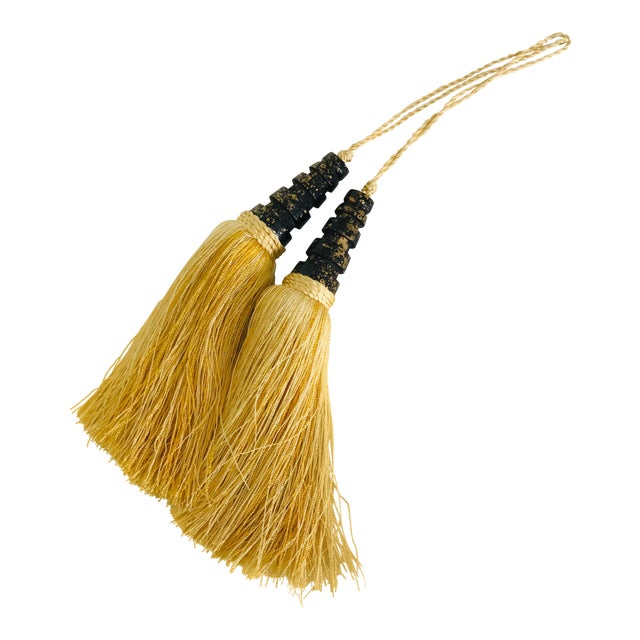 Art Deco Style Black & Gold Tassels - a Pair For Sale
