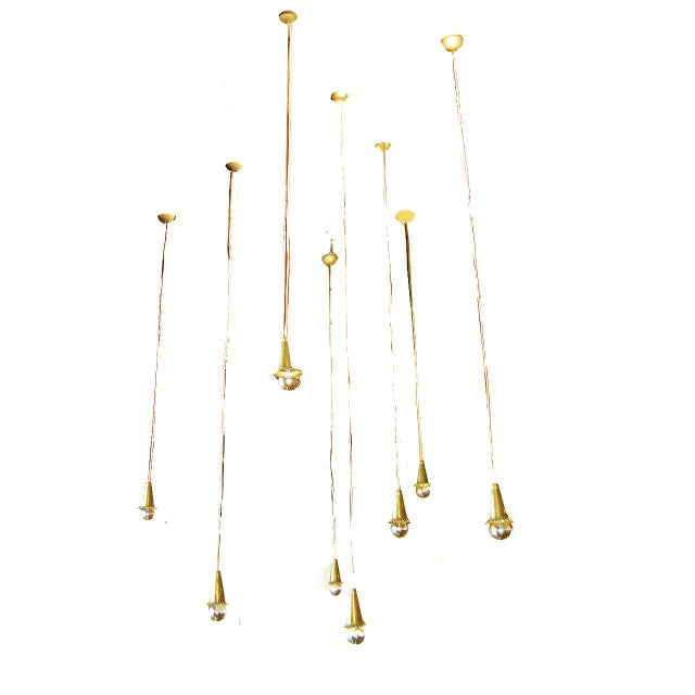 Art Deco Set of eight brass pendant lights For Sale - Image 3 of 4