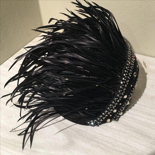 Vintage Feather & Rhinestone Hat - Image 2 of 6