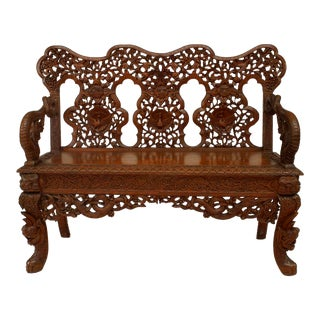 Asian Burmese Style Carved Teak Triple Filigree Back Loveseat For Sale