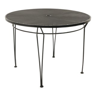Russell Woodard Outdoor Dining Table, Black Wrought Iron, Subtle Curved Legs For Sale