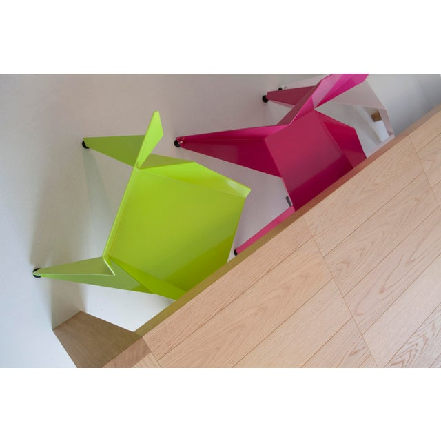 Origami Inspired Edge Green Chair | Indoor & Outdoor Chair For Sale - Image 4 of 9
