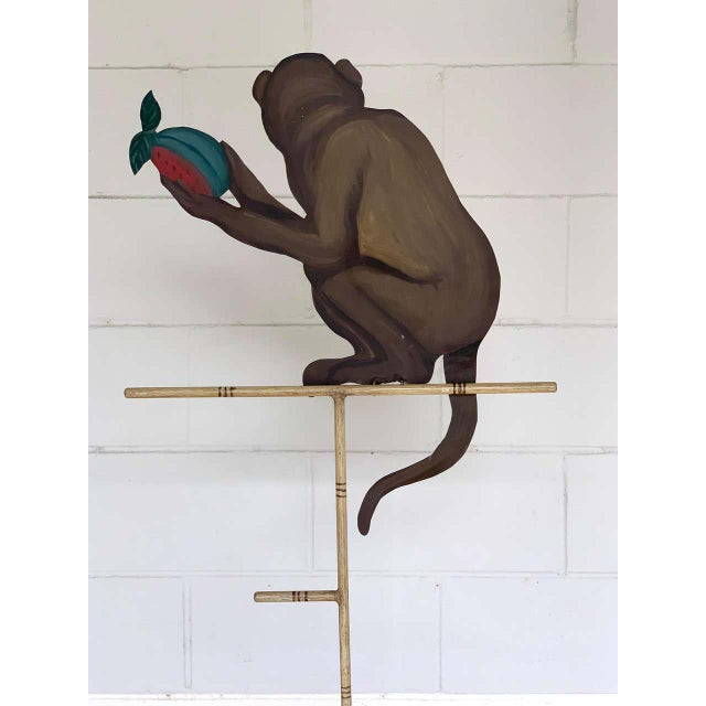 Tole Monkey With Pomegranate Towel Rack For Sale - Image 4 of 11