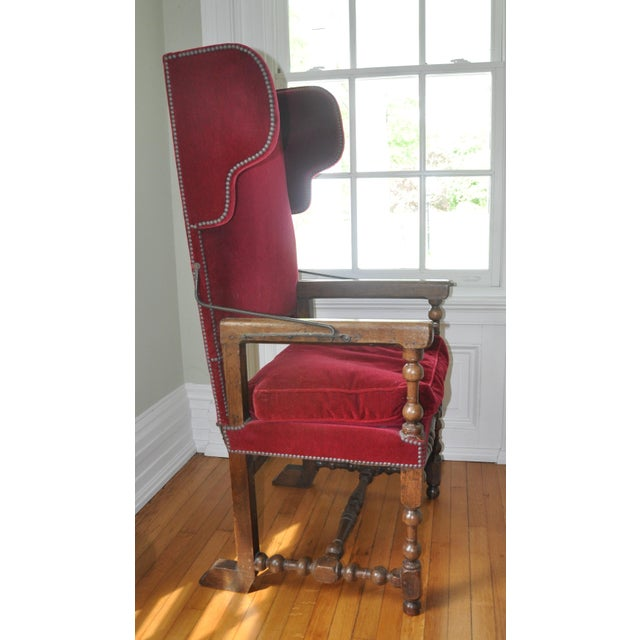 Louis XIII/IV Walnut & Red Velvet Adjustable Armchairs - Pair - Image 3 of 7