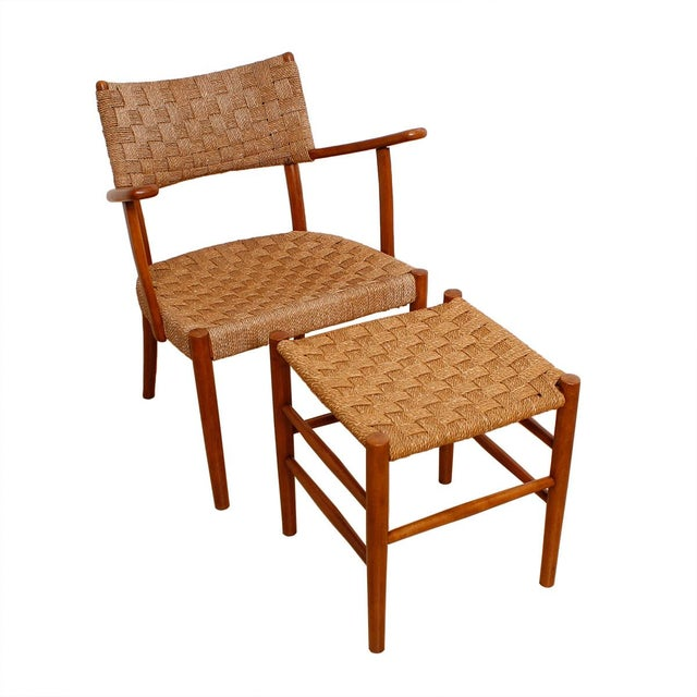 Fritz Hansen 1930's Woven Rope Chair & Ottoman - Image 1 of 6