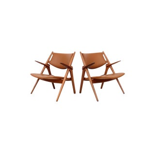 Hans Wegner Sawbuck Lounge Chairs For Sale