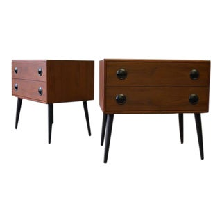 Mid Century Modern Teak Ebonized Nightstands - A Pair