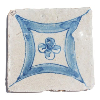 18th Century Baroque Flower Portuguese Earthenware Tile For Sale