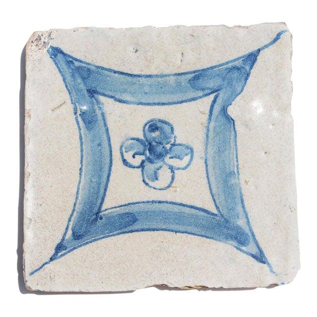 18th Century Baroque Flower Portuguese Earthenware Tile For Sale