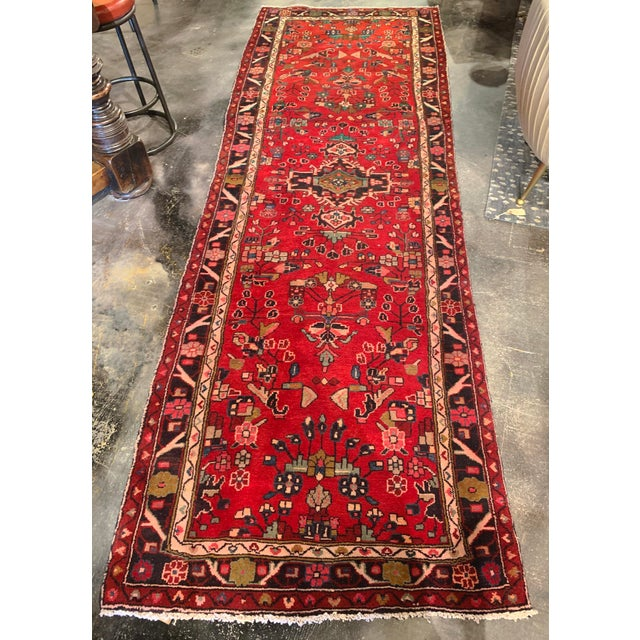"""Metal Hand-Tied Persian Saruq Wool Runner Rug - 3′6″ × 10' 7"""" For Sale - Image 7 of 12"""