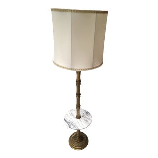 Mid-Century / Hollywood Glam Faux Bamboo Brass & Marble Table Floor Lamp W/ Large Shade For Sale