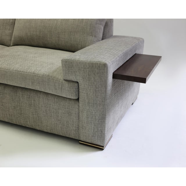 Modern Large Sofa With Large Pull Out Table and Metal Details on Wood Legs
