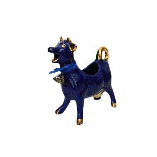 1950s Vintage French Cobalt Blue Ceramic Cow Creamer