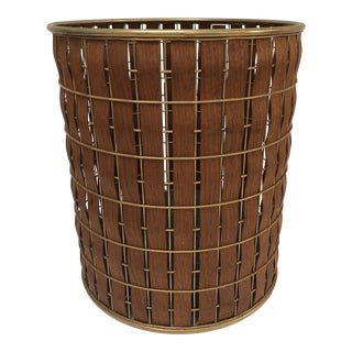 Mid Century Brass and Wood Waste Basket or Planter