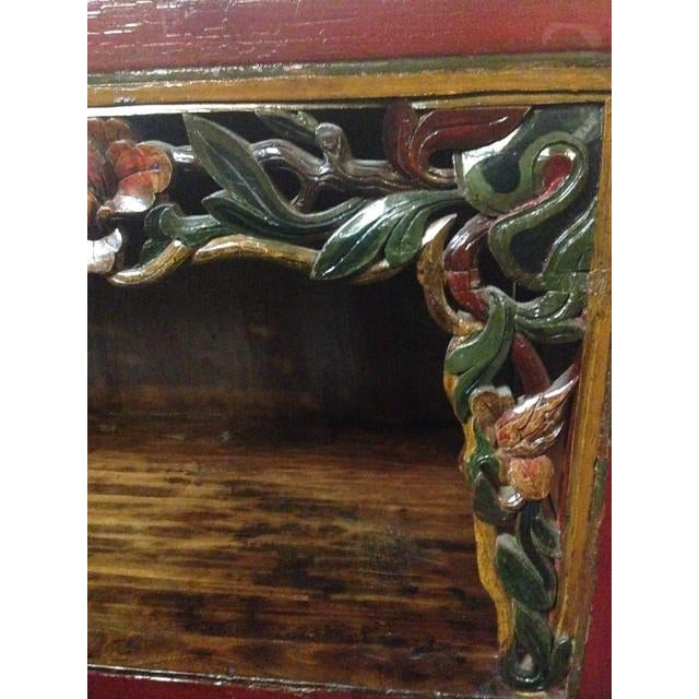 Asian Antique Chinese Carved Shelf Sideboard For Sale - Image 3 of 11
