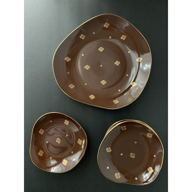 Mid-Century Modern Vintage Mid Century Brow Gilded Cake Dessert Serving Set - 7 Pieces For Sale - Image 3 of 11