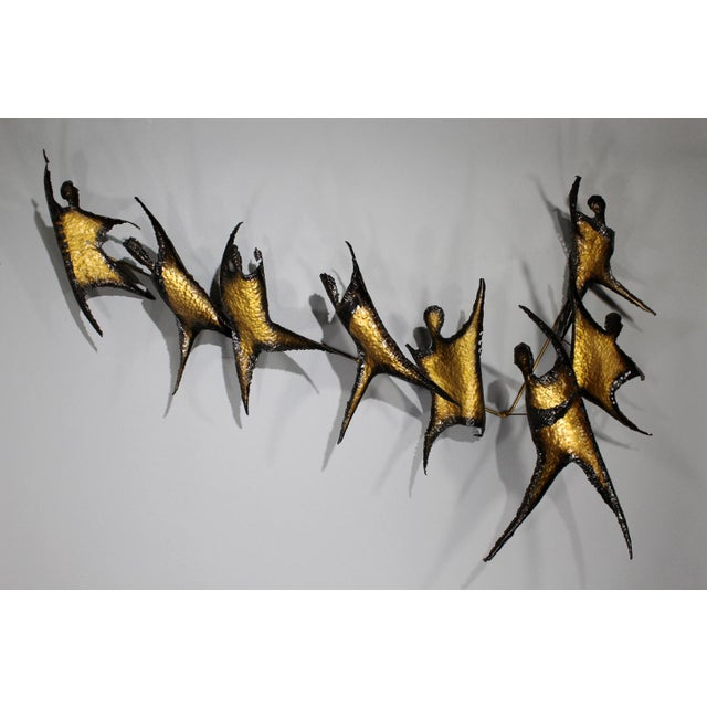 Brutalist Figural Brass Wall Sculpture - Image 3 of 8