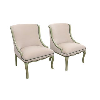 Ivory Velvet Slipper Chairs With Green Accenting - a Pair For Sale
