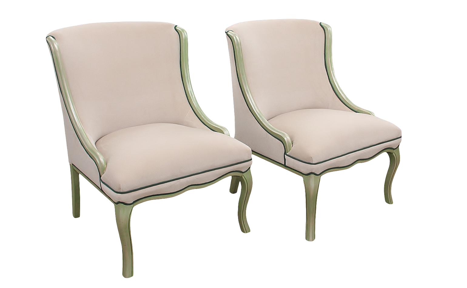 Ivory Velvet Slipper Chairs With Green Accenting A Pair