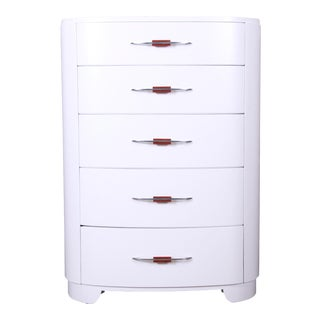 Widdicomb Art Deco White Lacquered Highboy Dresser, Newly Refinished For Sale
