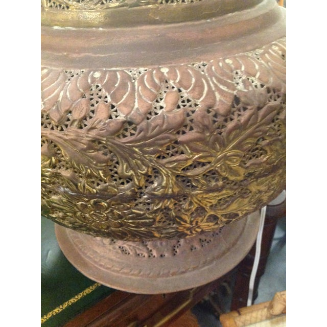 Monumental Pierced Brass Moroccan Ewer Lamp For Sale In West Palm - Image 6 of 11