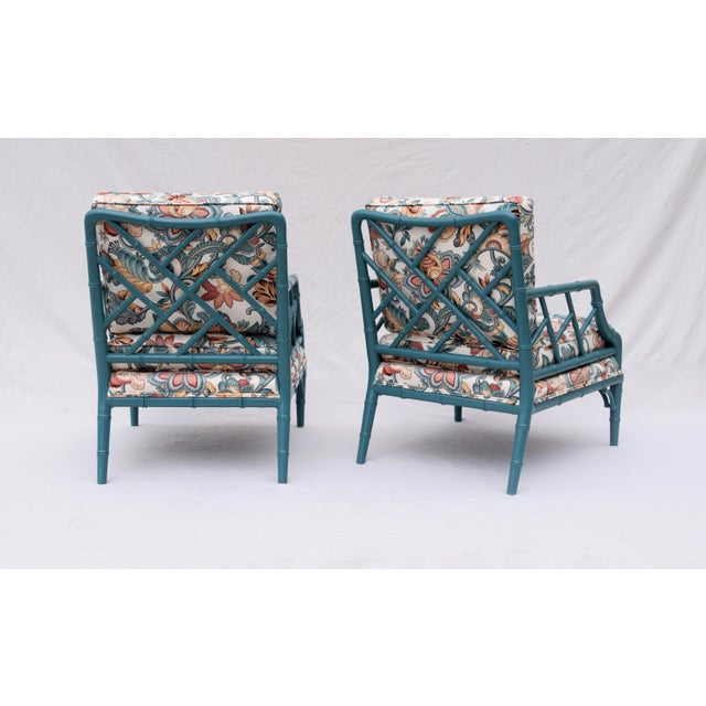 Faux Bamboo Chinese Chippendale Lounge Chairs For Sale - Image 11 of 13