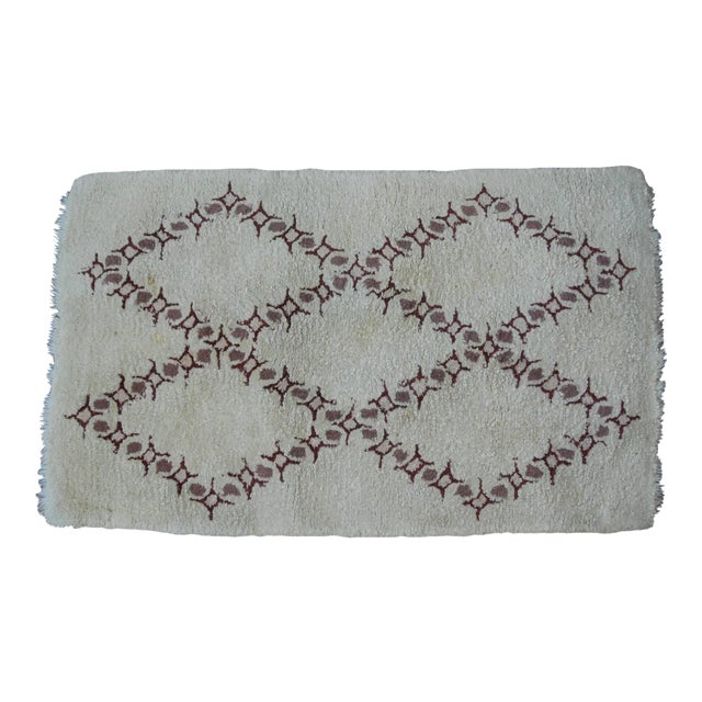 Vintage Moroccan Wool Rug - 3′2″ × 5′ For Sale