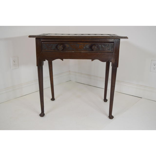 Brown 18th-Century Georgian Oak Table W/Drawer For Sale - Image 8 of 8