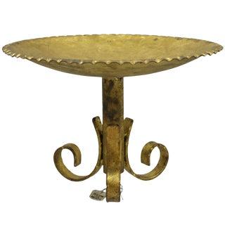 Vintage Gold Gilt Metal Italian Hollywood Regency Toleware Platter Bowl Centerpiece For Sale