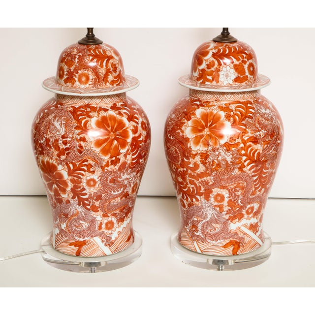 Orange and White Ceramic Lamps - A Pair For Sale - Image 4 of 13