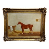 Image of 19th Century Race Horse in a Stall - English Oil Painting c. 1860s For Sale