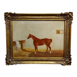19th Century Race Horse in a Stall - English Oil Painting c. 1860s For Sale