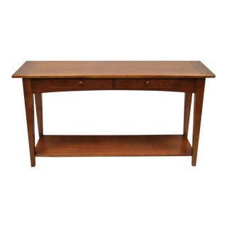 20th Century Arts and Crafts Stanley Cherry Wood Console Table For Sale