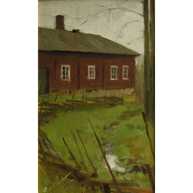 "Pöyhönen Framed Painting ""Gray Fall Day at Kauppila"", Contemporary Landscape With Architecture For Sale"